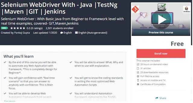 [100% Free] Selenium WebDriver With - Java |TestNg |Maven |GIT | Jenkins