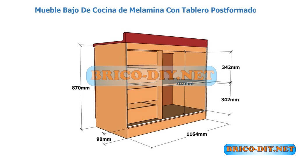 Muebles de cocina bajo mesada hazlo t mismo brico muebles for Planos de bajo mesada de melamina
