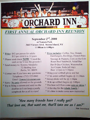 Very fist bulletin for the very first Orchard Inn Reunion Picnic... September 2, 200... unbelievable!