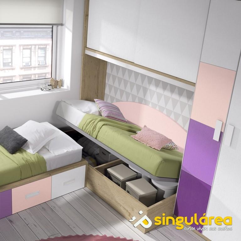 Juvenil camas en ngulo 2033 for Dormitorios juveniles dos camas en l