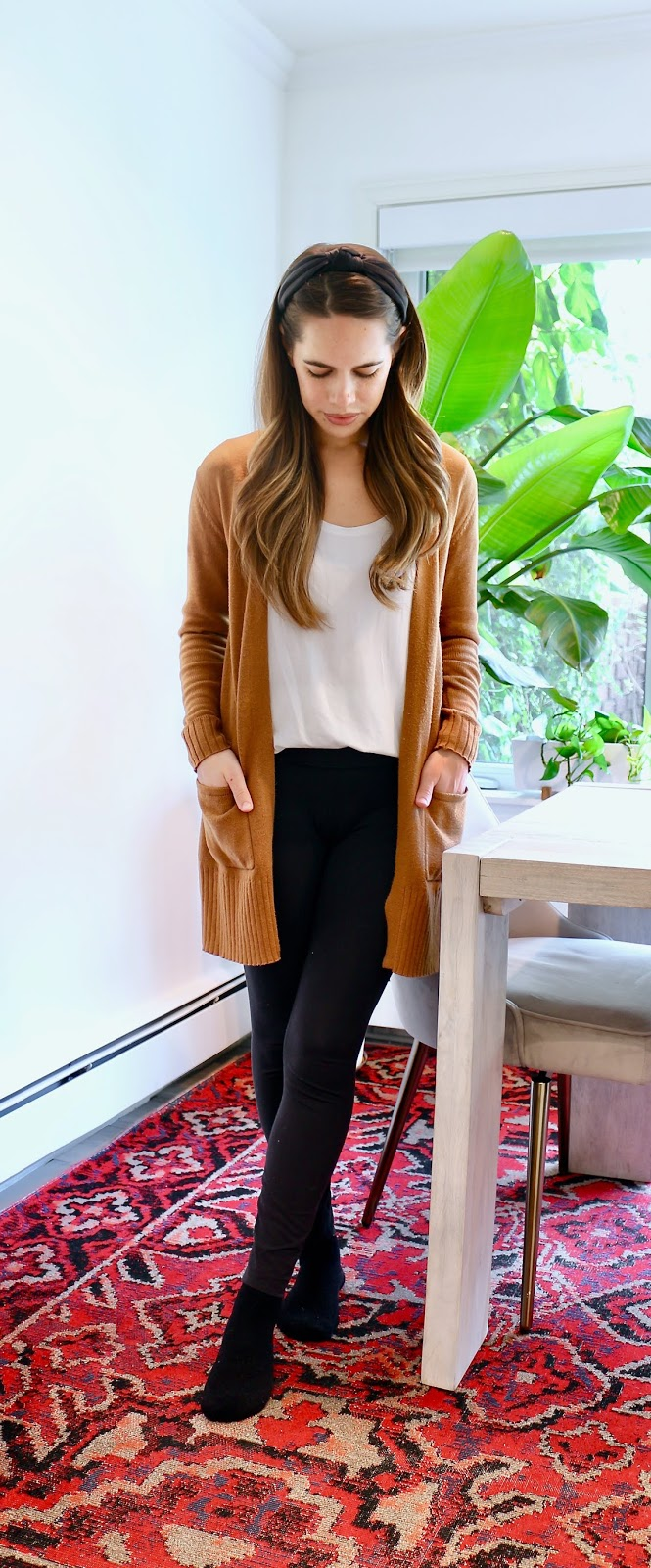 Jules in Flats - Cognac Cardigan + White Tee + Leggings (Easy Work from Home Outfit)