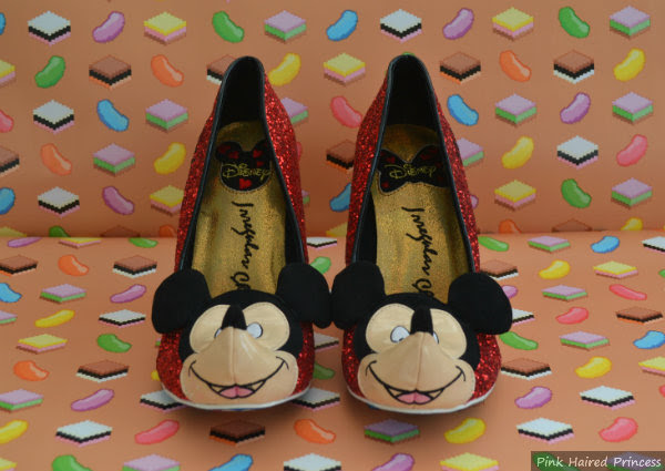 disney mickey mouse red glitter shoes