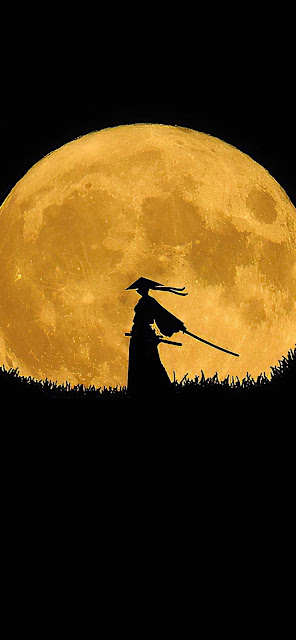 Samurai Full Moon Wallpaper 4k