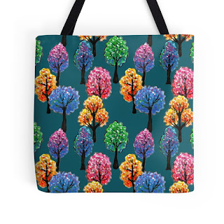 forest tree pattern tote bag