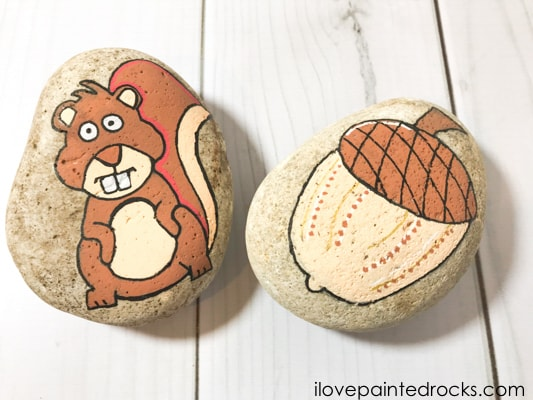 squirrel rock stone painting tutorial