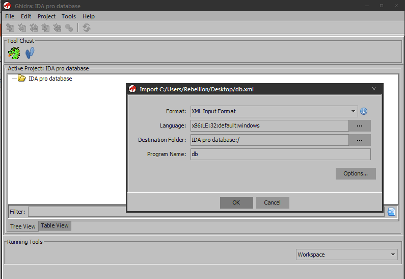 Import IDA pro database into Ghidra project