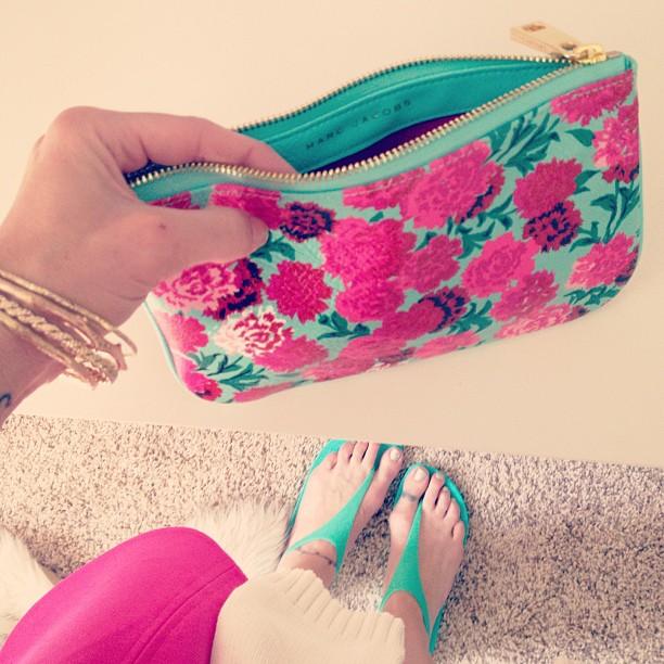 marc jacobs floral pouch, crocs, pink and aqua