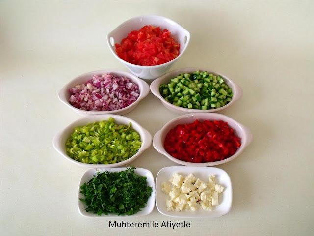 doğranmış salata malzemeleri
