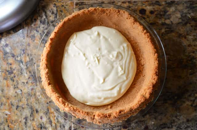 Banana Pudding Cheesecake filling in Graham Cracker Crust from Serena Bakes Simply From Scratch.