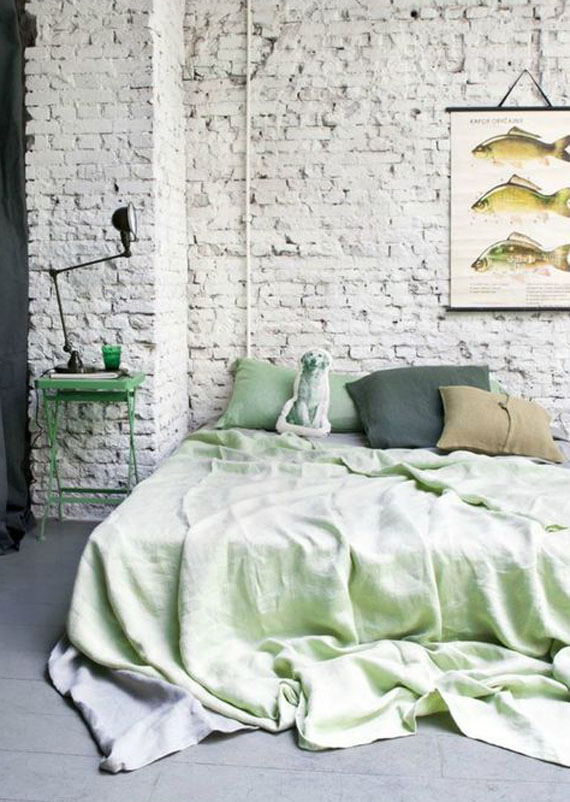 vintage style bedroom in white and mint green