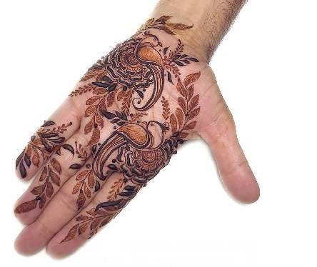 Birds and flower Mehndi Design for front hand