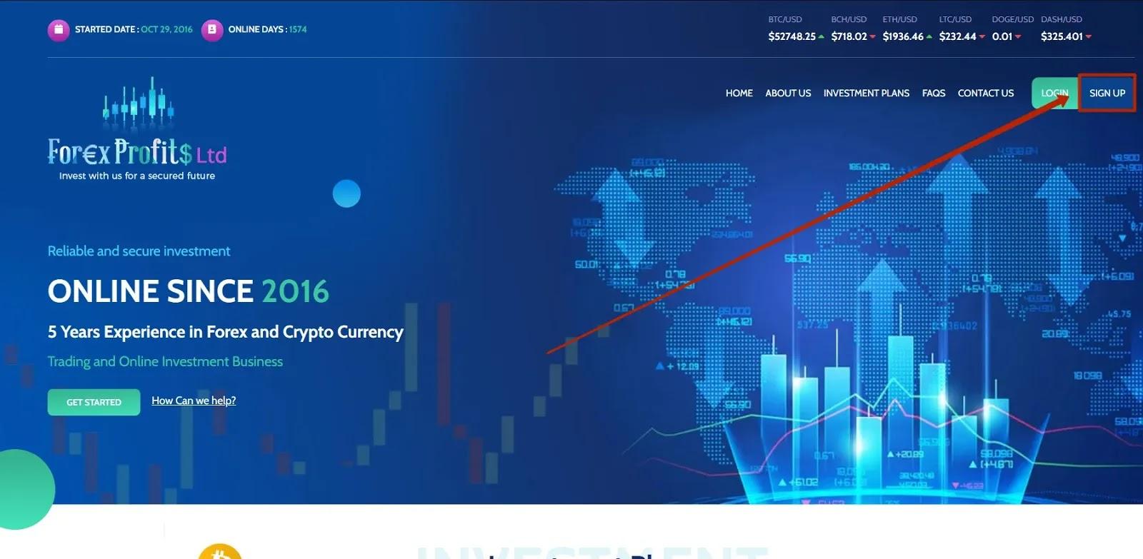 Регистрация в Forex Profits Ltd