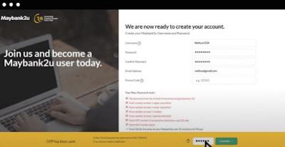 CARA DAFTAR MAYBAN2U ONLINE TANPA PERLU KE BANK