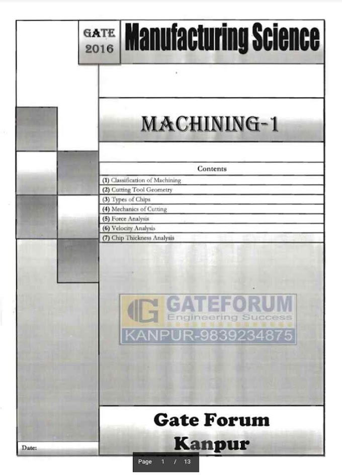 MANUFACTURING SCIENCE MACHINING-1 [GATE FORUM]