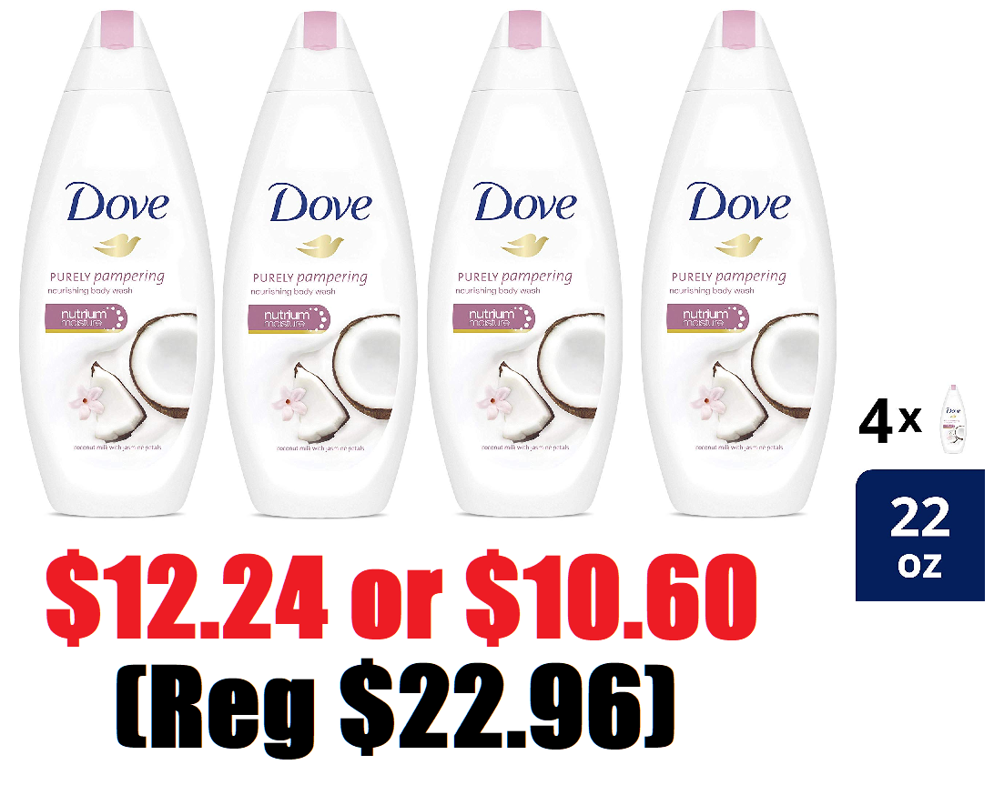 4 Bottles Of 22oz Dove Purely Pampering Coconut Milk With Jasmine Petals Body Wash 12 24 Reg 22 96 Free Shipping Or 10 60 With 5 Amazon Subscribe Save Discounts Heavenly Steals