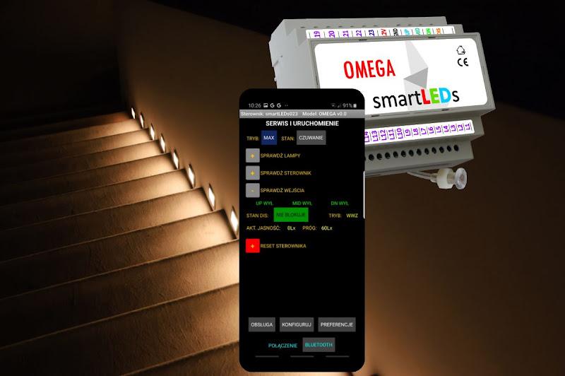 Uruchmianie instalacji oświetlenia LED schodów przy pomocy mobilnej aplikacji OMEGA smartLEDs. Diagnostyczne funkcje serwisowe dla instalatorów.