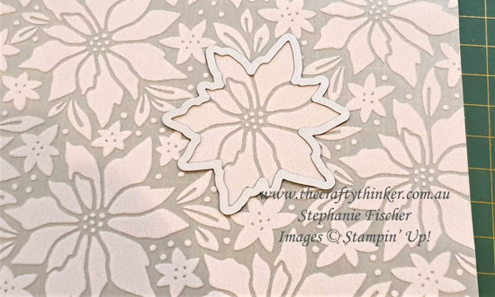 #thecraftythinker #stampinup #xmascard #plushpoinsettia #poinsettiaplacesuite #cardmaking , Christmas Card, Die cut flower from Plush Poinsettia,  Stampin' Up Demonstrator, Stephanie Fischer, Sydney NSW