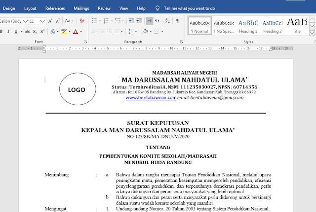 Contoh SK Komite Madrasah Untuk Aliyah MTs dan MI Format Terbaru