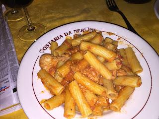 Rigatoni con la Pajata at Ostaria Da Nerone
