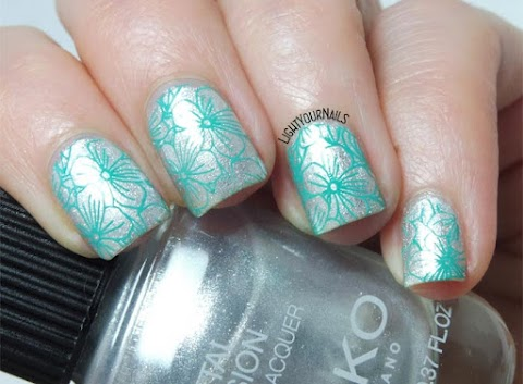 Metallic silver and teal flowers stamping