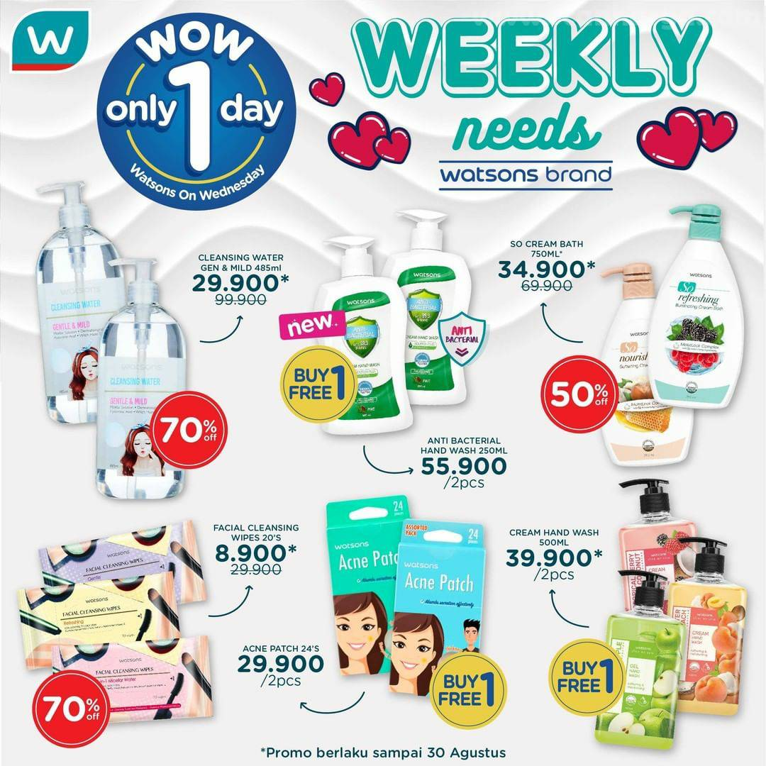 Promo Watsons Wow Day Buy 1 Get 1 Free* Weekly Needs Watsons Brand