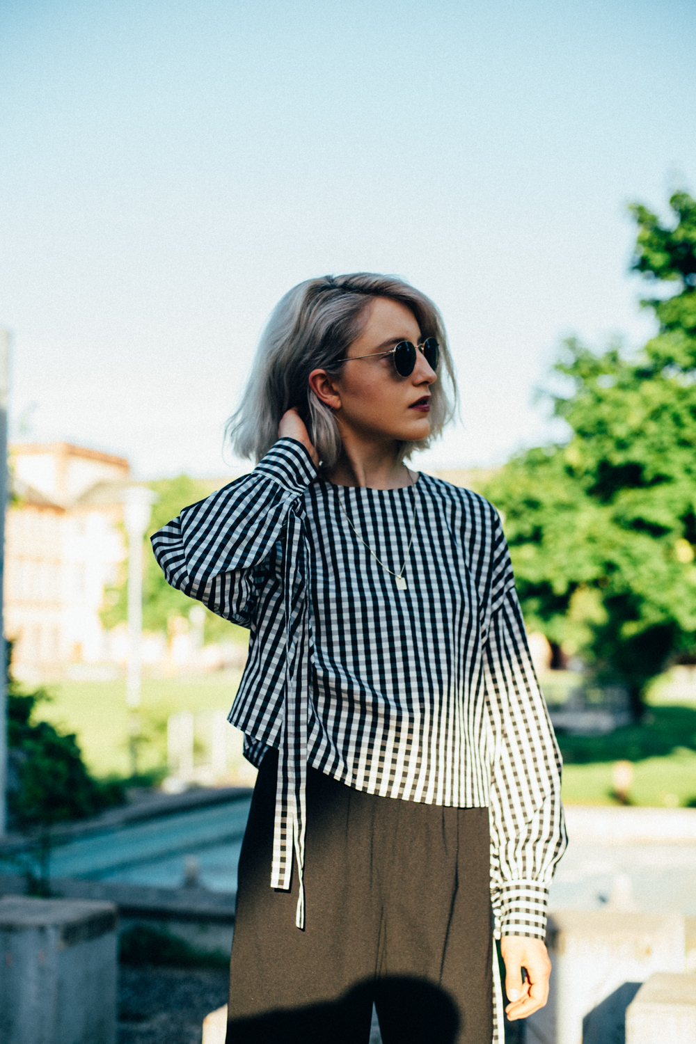 OUTFIT: Gingham Top, Culottes & Vans Old School
