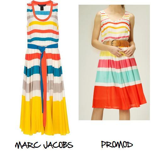 Clones 2011 vestido rayas Marc Jacobs Promod