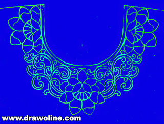 Neck design drawings and sketch on tracing-paper,aari work blouse neck design on tracing paper, Embroidery neck