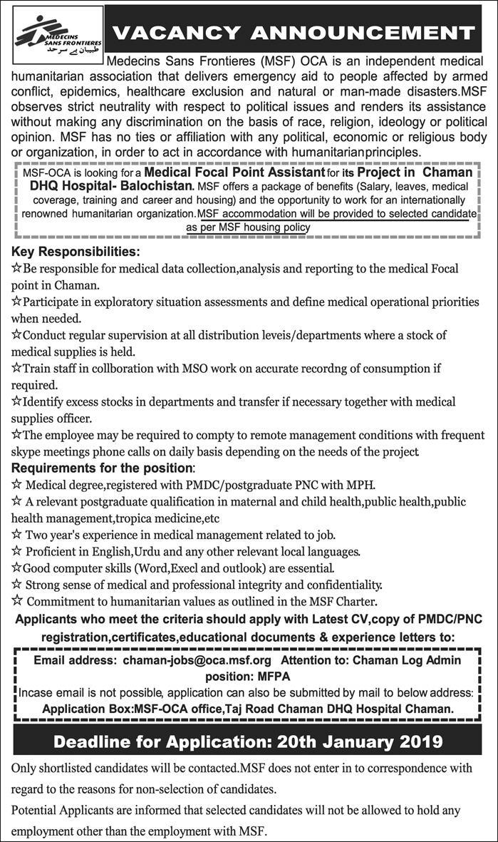 Jobs vacancies In Medecins Sans Frontiers 10 January 2019