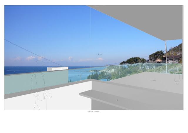相模湾を望む白い大広間の家 相模湾の望む書斎