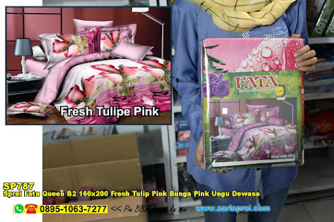 Sprei Fata Queen B2 160x200 Fresh Tulip Pink Bunga Pink Ungu Dewasa