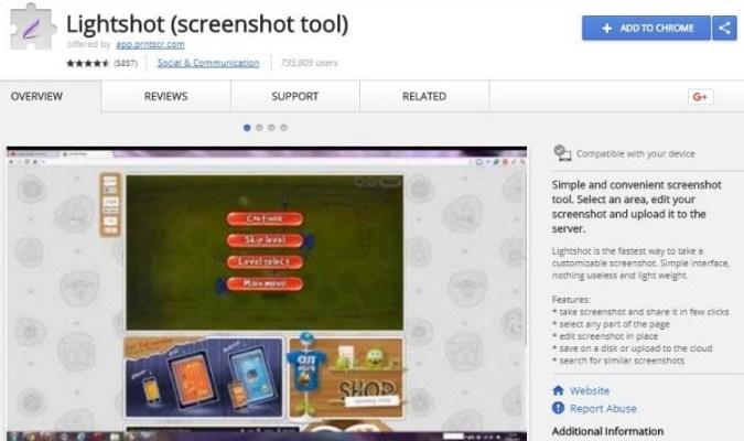 Ekstensi Google Chrome tuk Pelajar - Lightshot