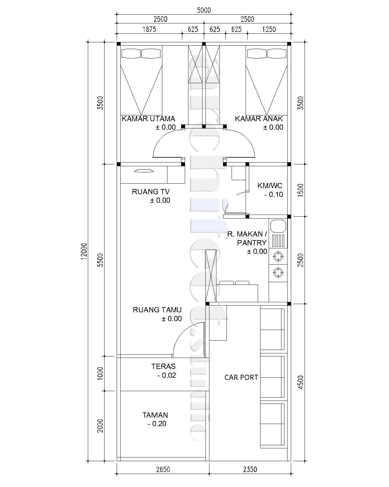 Denah Rumah 5 X 12 M Lengkap Rancanghunian
