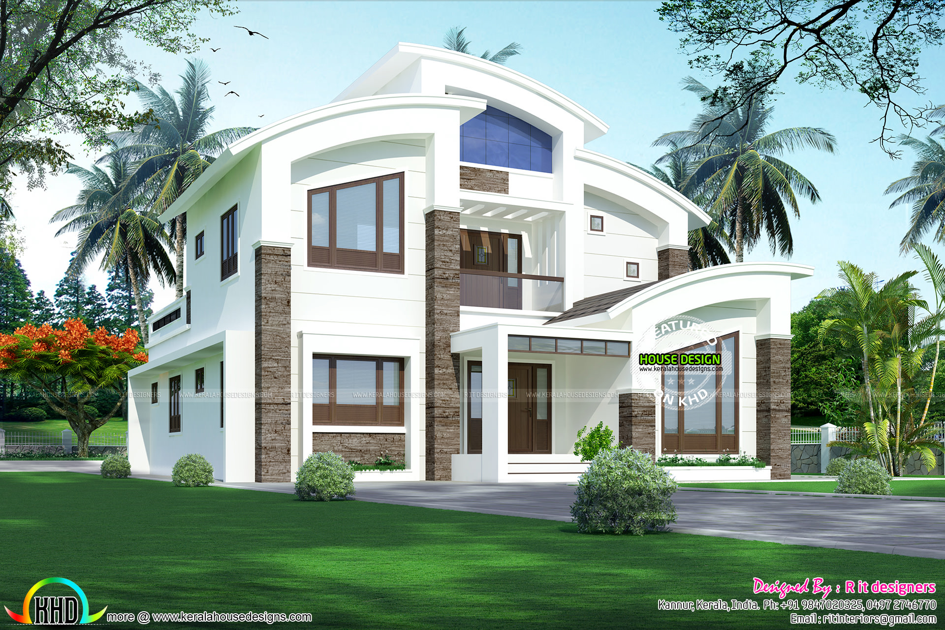 2866 sq ft curved roof contemporary home kerala home for Curved roof house plans