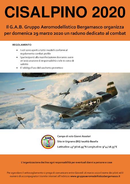locandina Gruppo Aeromodellistico Bergamasco organizza per domenica 29 marzo 2020 un raduno dedicato al combat.