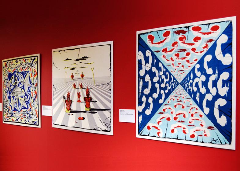 Artist Textiles Exhibition: Picasso to Warhol. Salvador Dali silk printed scarves.