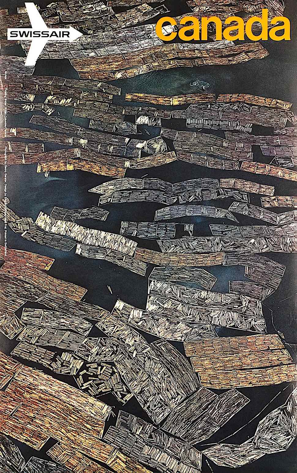 a Georg Gerster photograph, a birds eye view of Canadian logging rafts on a river for Swissair airline
