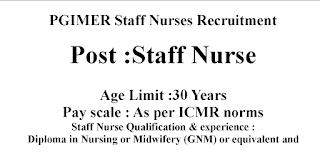 PGIMER Staff Nurses Recruitment