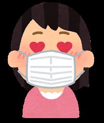 マスクを付けた人の表情のイラスト(女性・目がハート)