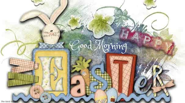 good morning with a easter greeting card