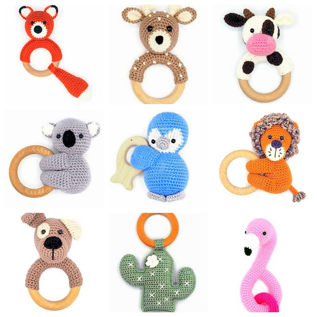 amigurumi baby rattle and baby teething ring crochet patterns