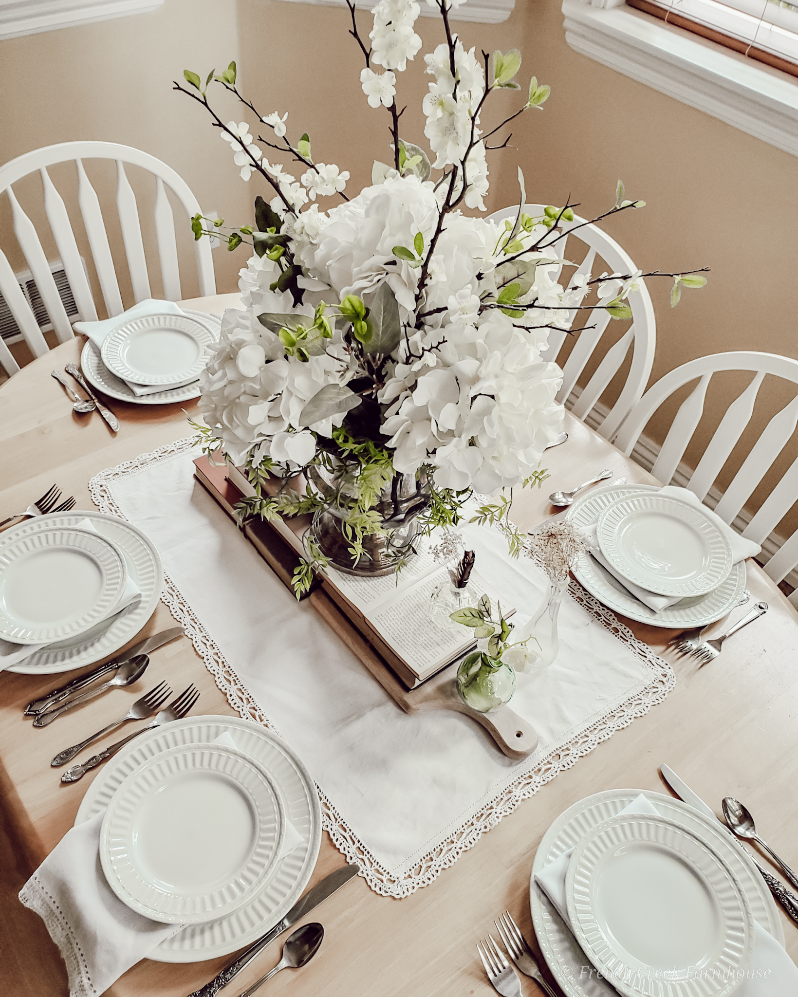 Spring tablescape with hydrangea centerpiece