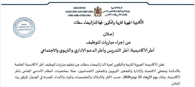 الأكاديمية الجهوية للتربية والتكوين لجهة الدار البيضاء سطات مباراة توظيف أطر الأكاديمية 2825 منصب
