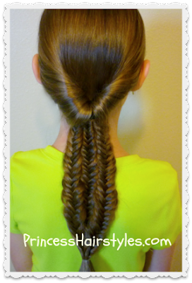 Messy fishtail braids ponytail