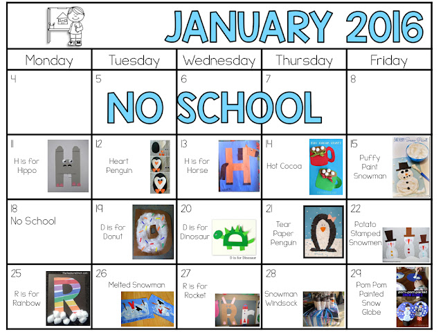 January 2016 Art Plans.  Letters H, D, R and all things winter!