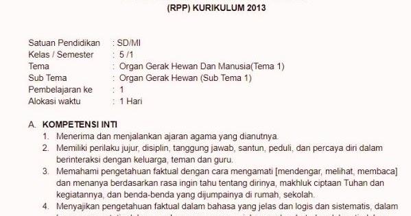 Rpp Kuriklum 2013 Kelas 5 Tema 1 Subtema 1 Sekolahdasar Net