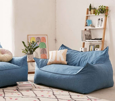 Comfy blue couch for living room in your apartment