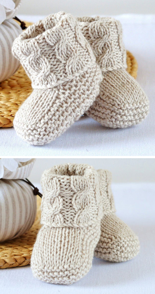 Baby Cable Booties - Knitting Pattern