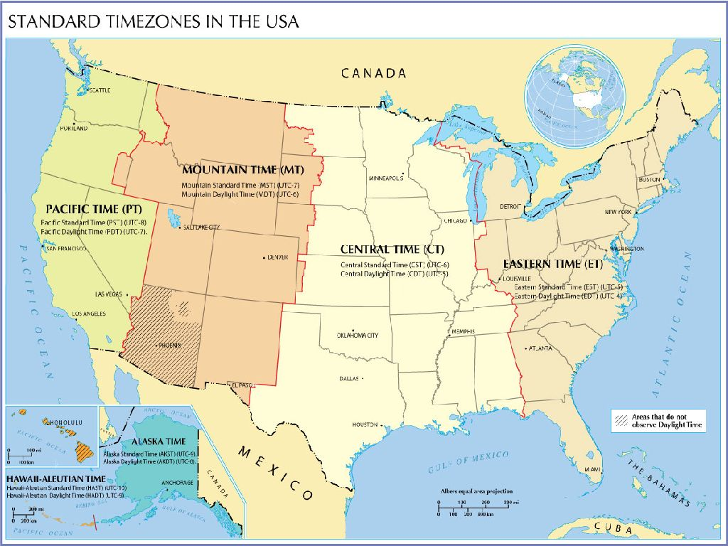 united states map and time zones