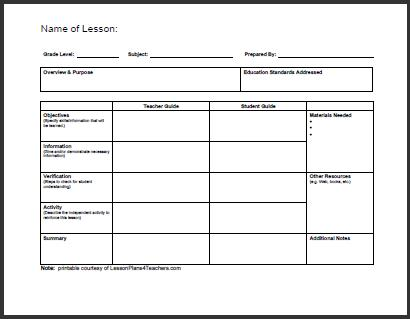sample blank lesson plan 10 documents in pdf. one possible vision ...